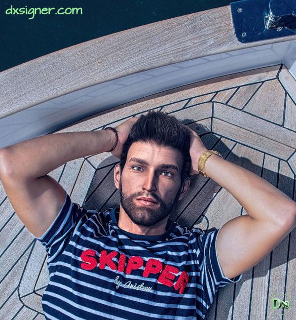 Personnage 3D photoréaliste avec montage dans une séance photo sur un bateau Yatch de luxe à Dubaï en mode détente (lifestyle) pour une entreprise de luxe sportwear. Réalisation et production par Dxsigner-design-character-creator-animate-3D-jeux-vidéo-game-virtual-influencer-mascotte-mode-photorealistic-render-mode-lifestyle-plage-beach-bateau-luxe-RENDU-HD-2
