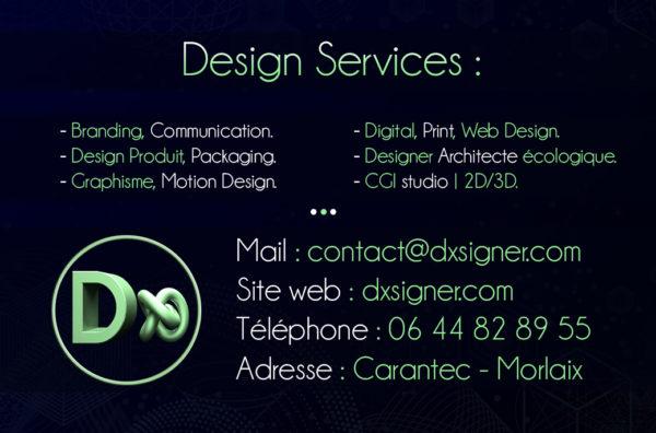 Carte de visite Dxsigner Graphic design en Bretagne Finistère graphiste - Branding - Product design - Motion design - Architecture - écologique