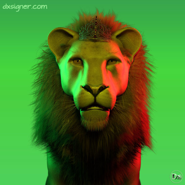 Illustration pour pochette de disque 3D reggae - avec une animal (lion) photoréaliste réalisation et production par Dxsigner-design-character-creator-animate-3D-jeux-vidéo-game-virtual-influencer-mascotte-mode-photorealistic-render-mode-lifestyle-shooting-photo-illustration-lion 3D